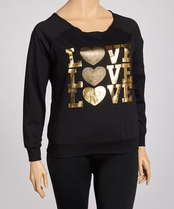 Black Fleece Foil 'Love' Sweatshirt - Plus
