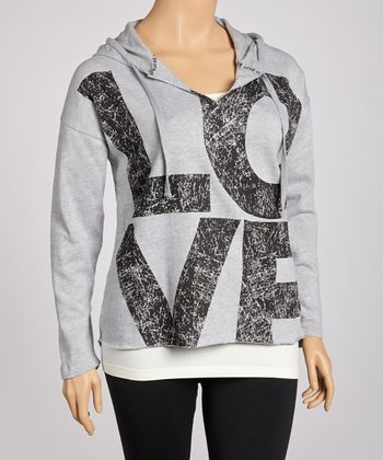 Heather Gray Hooded Top - Plus