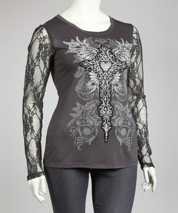 Charcoal Graphic Lace-Sleeve Top - Plus