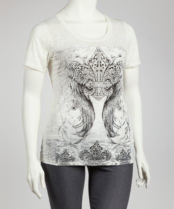 Ivory Studded Graphic Tee - Plus