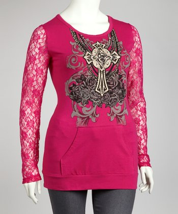 Hot Pink Graphic Lace-Sleeve Top - Plus