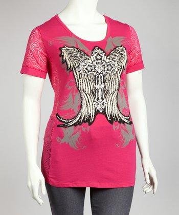 Hot Pink & Gray Rhinestone Graphic Tee - Plus