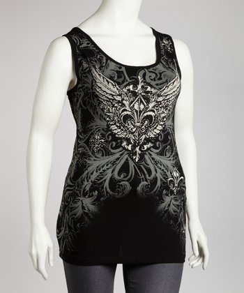 Black Graphic Cutout Tank - Plus