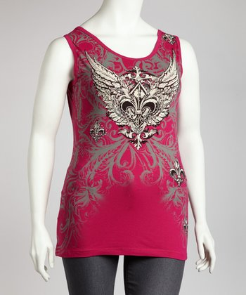 Hot Pink Graphic Cutout Tank - Plus