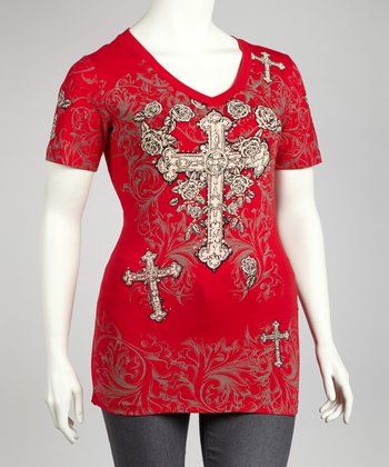 Red Rhinestone Cross Graphic Tee - Plus