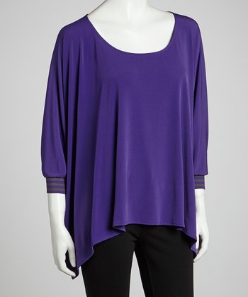 Purple & Gray Sidetail Dolman Top - Women