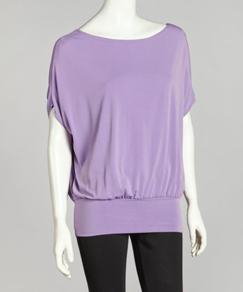 Lavender Kiara Cape-Sleeve Top - Women