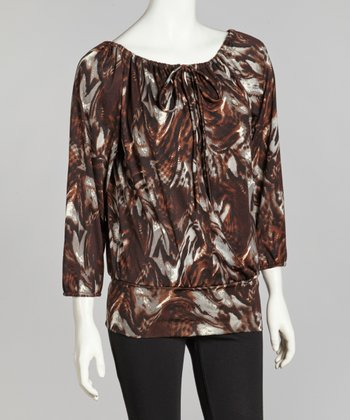 Brown & Blue Collage Peasant Top - Women