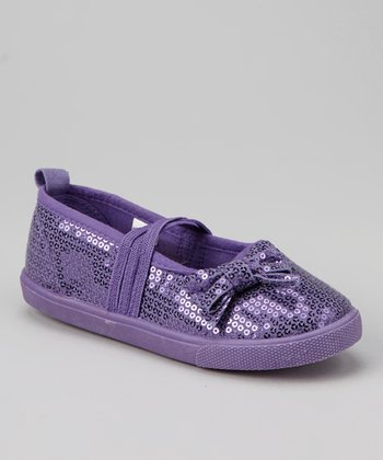 Purple Sequin Strap Flat
