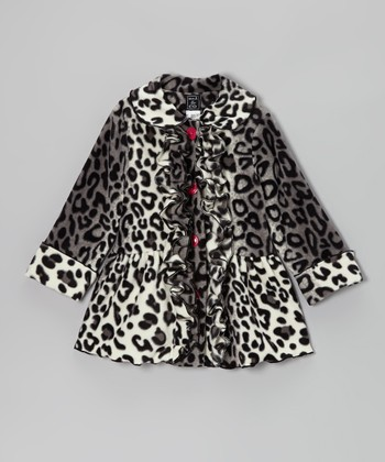 Snow Leopard Ruffle Coat - Infant, Toddler & Girls
