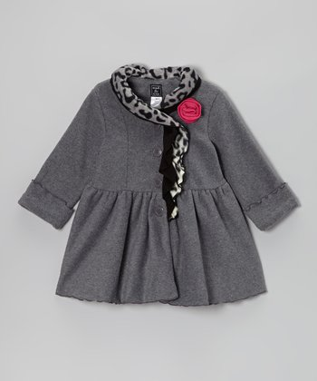 Charcoal Ruffle-Collar Coat - Toddler & Girls