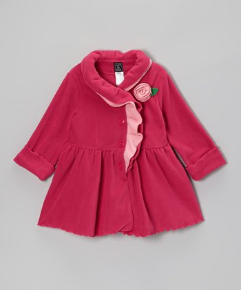 Hot Pink Ruffle-Collar Coat - Infant, Toddler & Girls