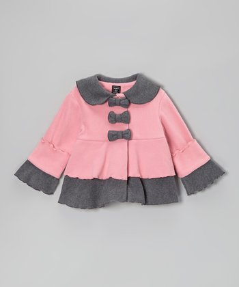 Rose Pink & Gray Bow Tiered Jacket - Toddler & Girls