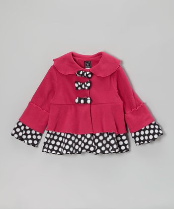 Hot Pink Bow Tiered Jacket - Toddler & Girls