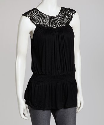 Black Crocheted Yoke Top