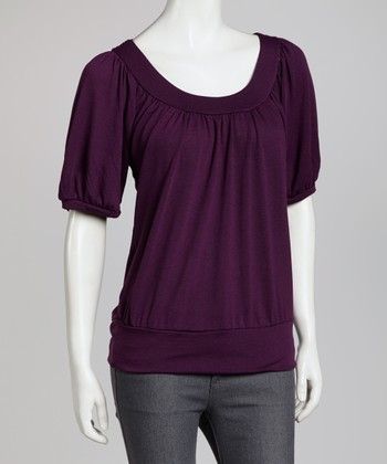 Plum Lace-Back Dolman Top
