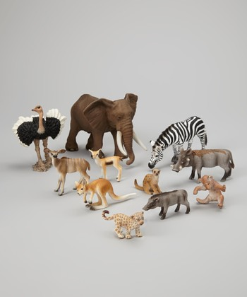 Wild Animals & Baby Animals Figurine Set
