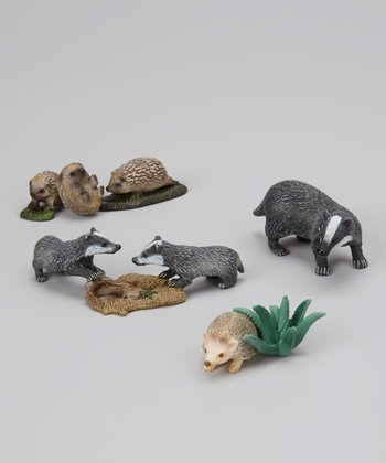 Hedgehog, Badger & Babies Figurine Set