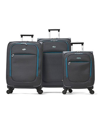 Gray Ultralight Wheeled Three-Piece Luggage Set