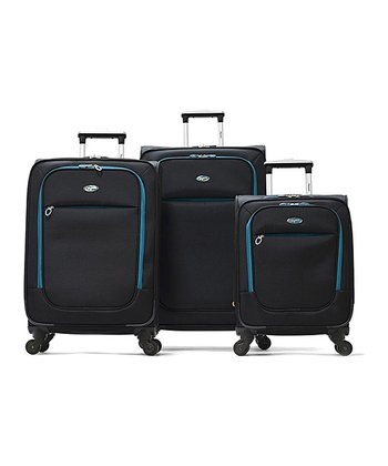 Black Ultralight Wheeled Three-Piece Luggage Set