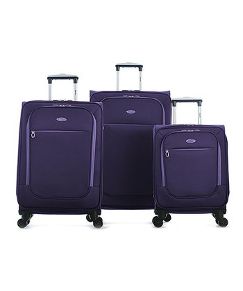 Purple Ultralight Wheeled Three-Piece Luggage Set