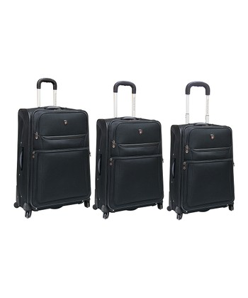 Black Expandable Wheeled Three-Piece Luggage Set