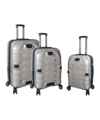 Silver Expandable Wheeled Hardside Three-Piece Luggage Set