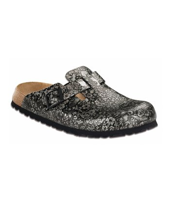 Black & Gray Metallic Floral Boston Mule
