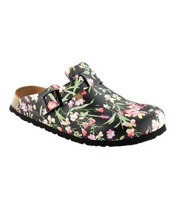 Black Floral Boston Mule