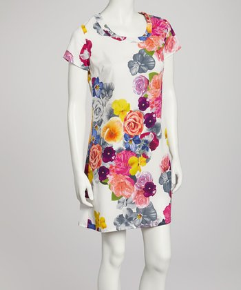 Ivory Floral Shift Dress