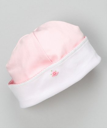 White & Pink Pretty Bow Beanie