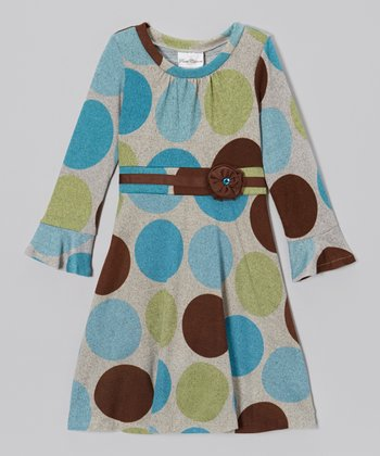 Turquoise & Brown Dot Dress - Girls