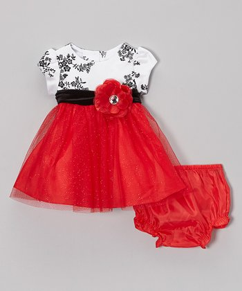 Red & Black Floral Dress & Diaper Cover - Infant