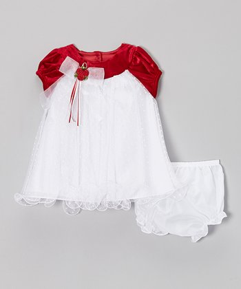 Red & White Swiss Dot Dress & Diaper Cover - Toddler