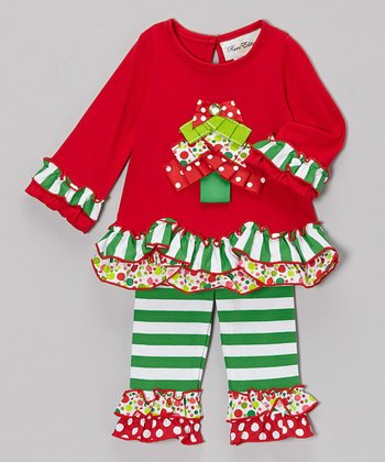Red & Green Tree Ruffle Tunic & Leggings - Infant