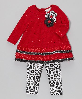 Red & Black Ruffle Tunic & Damask Leggings - Infant