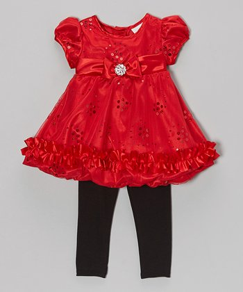 Red Sequin Ruffle Dress & Black Leggings - Infant