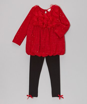Red Sparkle Bubble Dress & Black Leggings - Infant