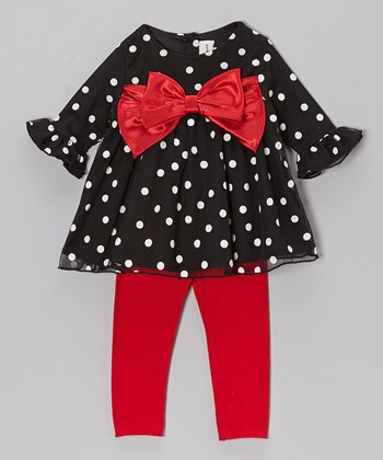 Black Polka Dot Tunic & Red Leggings - Infant