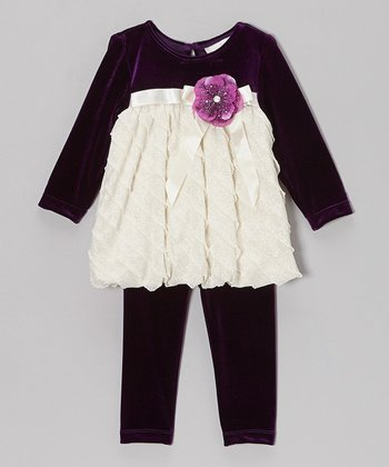 Purple & White Ruffle Velvet Dress & Leggings - Infant