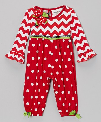 Red Zigzag & Polka Dot Playsuit - Infant