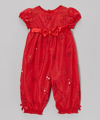 Red Sequin Bow Playsuit - Infant