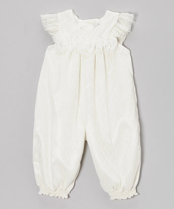 Ivory Rosette Angel-Sleeve Playsuit - Infant
