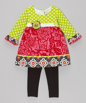 Lime & Fuchsia Dress & Black Leggings - Infant