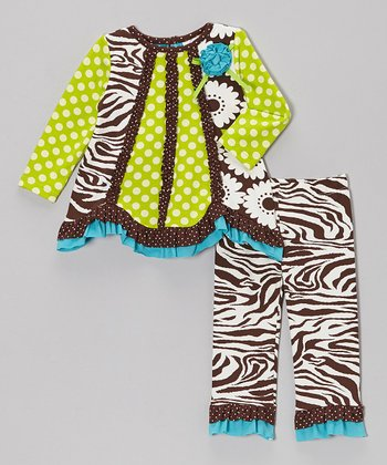 Brown & Lime Ruffle Tunic & Pants - Infant, Toddler & Girls