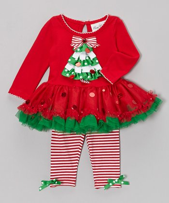 Red & Green Tree Dress & Leggings - Toddler