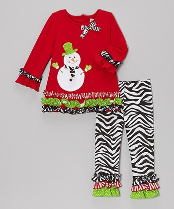 Red Snowman Ruffle Top & Black Zebra Pants - Toddler