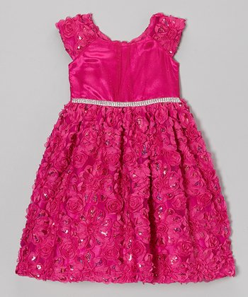 Fuchsia Sequin Soutache Dress - Girls
