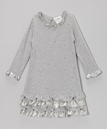 Silver Sparkle Ruffle Dress - Girls