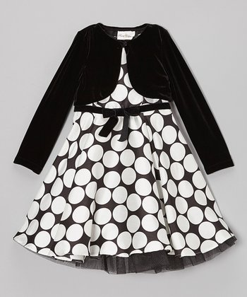 Black & White Dot Dress & Velvet Jacket - Girls